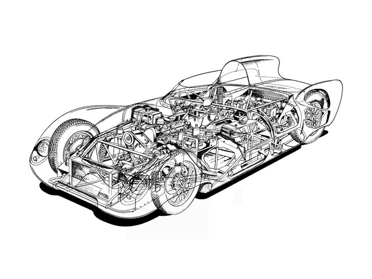cutaway drawing from lotus eleven  series i  1956
