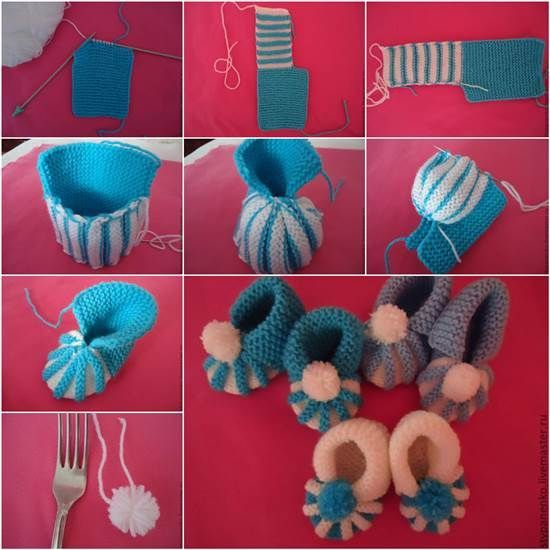 Cute Knitted Baby Booties With Pom Pom Decoration-- Nice handmade gift for baby ! Check tutorial--> http://bit.ly/1x4lBEP