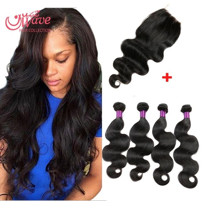 Brazillian Body Wave With Closure Top 8A Grade Rosa Hair Products 3/4 Bundle s Wet And Wavy Human Hair Meches Bresilienne
