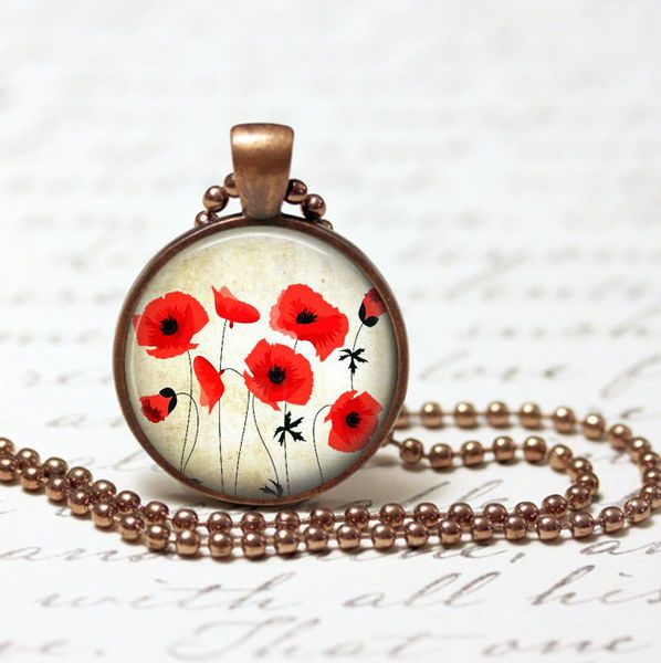 Pendants – Necklace vintage red poppy pendant – a unique product by MadamebutterflyMeagan on DaWanda