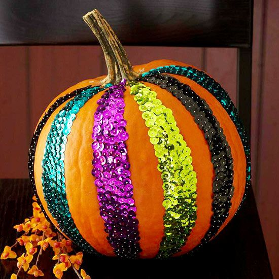 Sequin Striped Pumpkin - What a fun and sparkly pumpkin! For more unique pumpkin creations: http://www.bhg.com/halloween/pumpkin-carving/cool-halloween-pumpkins/