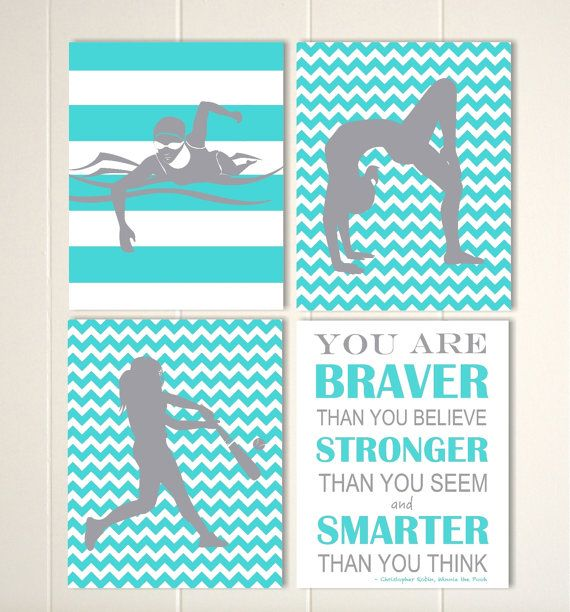 Gymnastics wall art, girl simmer wall art, softball wall art, pre teen girl wall art, gift for girl, girls sports wall art, Set of 4 prints by PicabooArtStudio