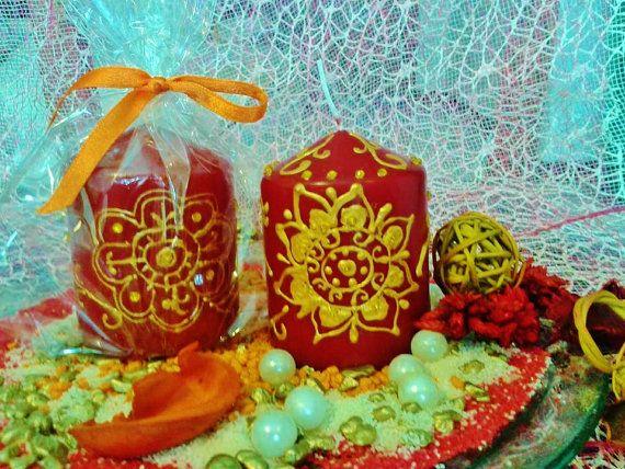 SET DI  CANDELE decorate a mano, candele color bordo di scintilledicolore