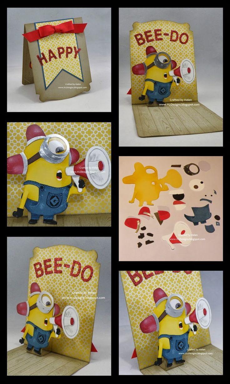 H2 Designs: Minion Pop n Cuts Card - Bee-Do, Bee-Do, Bee-Do!!!