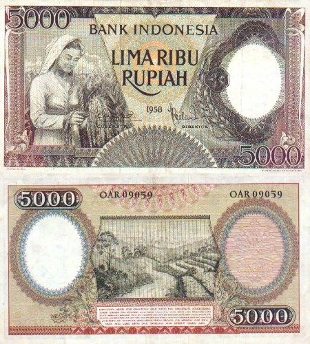 Indonesia  5000 Rupiah 1958