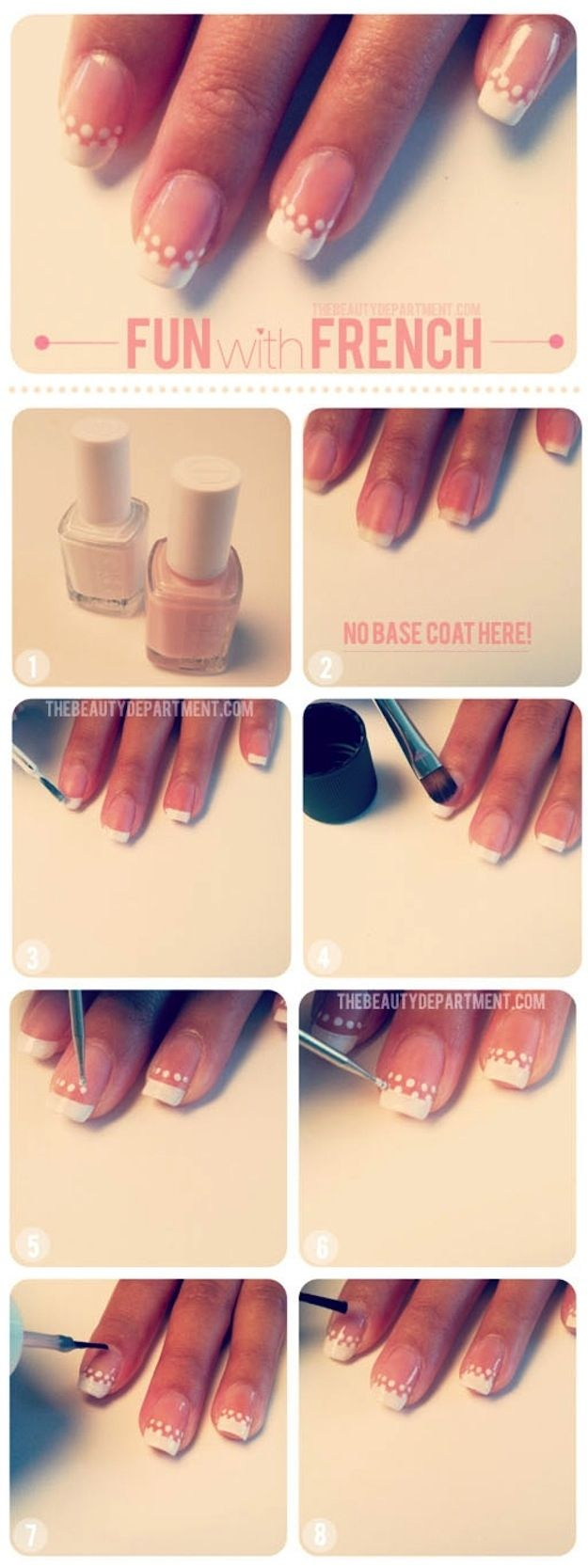 Dotted French Manicure | 24 Delightfully Cool Ideas For Wedding Nails