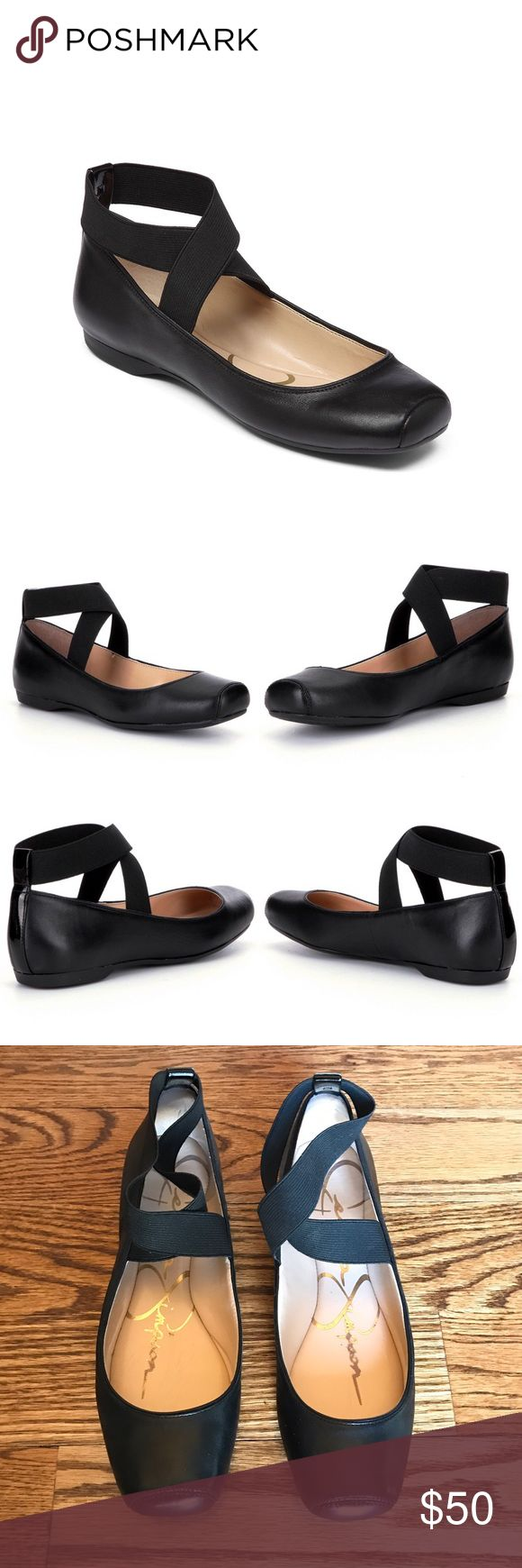 Black Leather Ballet Flats Great condition! Barely worn. Jessica Simpson Mandalaye Leather Ballet Flats. These beautiful flats feature a square toe and elastic ankle strap for a pointe style. Jessica Simpson Shoes Flats & Loafers