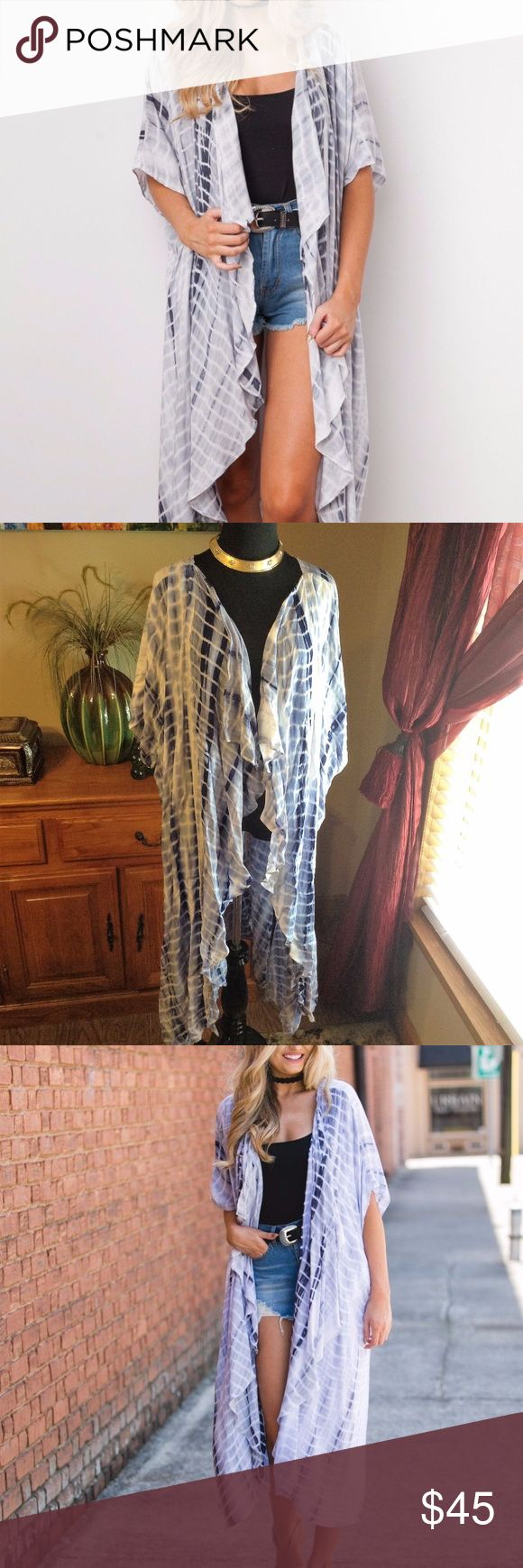 UMGEE Boho Gypsy BLUE Tie Dye Kimono/Cover up UMGEE BLUE Tie Dye Kimono Maxi Duster/Cover Up OVERSIZE Blue and white Size M/L Bamboo Tie Dye Kimono Style short Sleeves Maxi /DUSTER/cover up  Open Front- Waterfall Drape Great Beach Cover-Up Length 45-46 Pit-pit 33' I'm a size L/xl and I can fit this with no problem it fits oversize  to me it fits like a One size fit  New never worn missing tag Umgee Tops