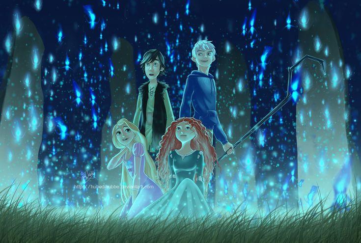 Glow by Hubedihubbe on deviantART - The Big Four Fan Art - Rapunzel, Merida, Jack Frost, and Hiccup.