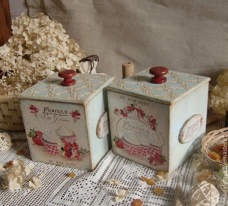 """Купить Короб """"Клубничный десерт"""" - короб для хранения, короб декупаж, деревянный кроб, короб с крышкой"""