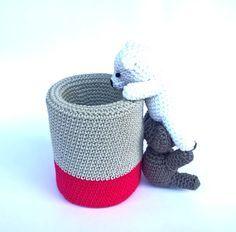 Crochet pen holder  Cute desk accessories  by Crochetonatree