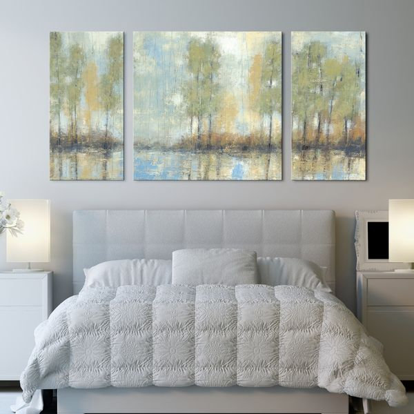 Studio 212 'Through the Mist' 30x60-inch Textured Canvas Triptych Art Print - Overstock™ Shopping - Top Rated Canvas