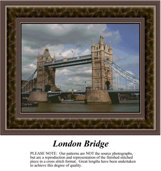 London Bridge, alluring landscapes counted cross stitch patterns, designs, charts, kits