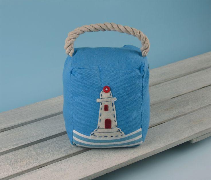 Blue Nautical Lighthouse Fabric Door Stop Doorstop