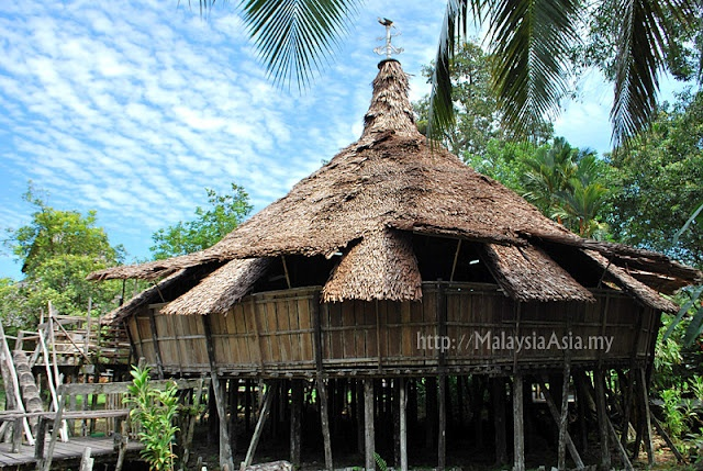 A 'Baruk' Warrior House found at the Sarawak Cultural Village in Borneo.