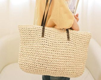 crocheted raffia straw beach nature brown tote bag with leather handles