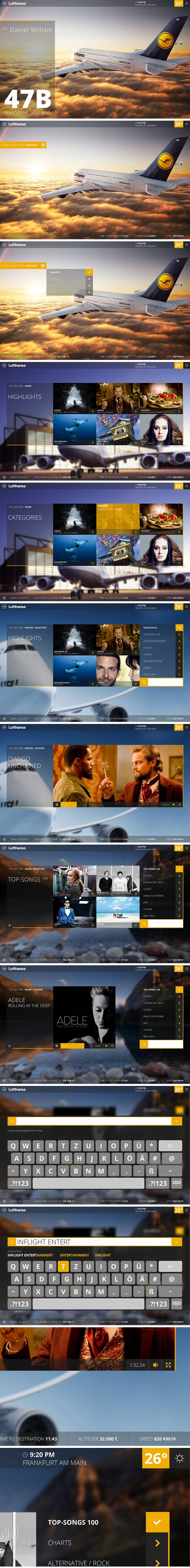 Lufthansa Inflight Entertainment System by theartcore. ® Studio , via Behance
