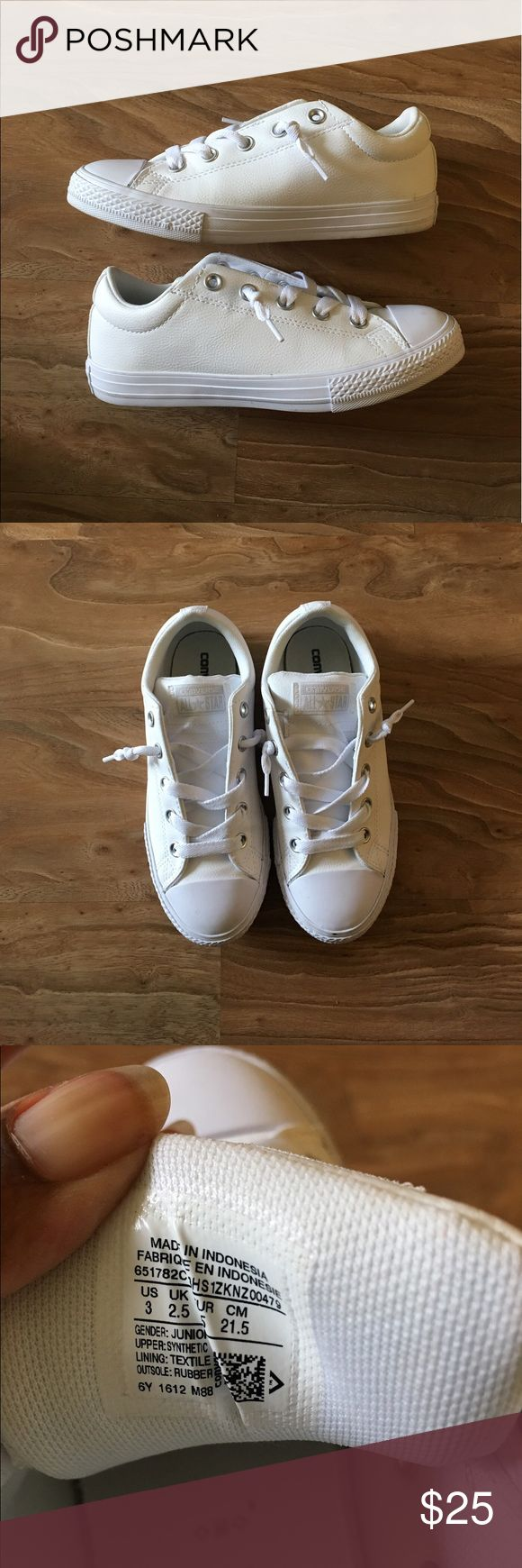 ALL WHITE LEATHER MATERIAL CONVERSE Another gem! Pleather material and no scuffs. The tongue is thicker than regular converse but still a classic. Fits women's size 6! Converse Shoes Sneakers