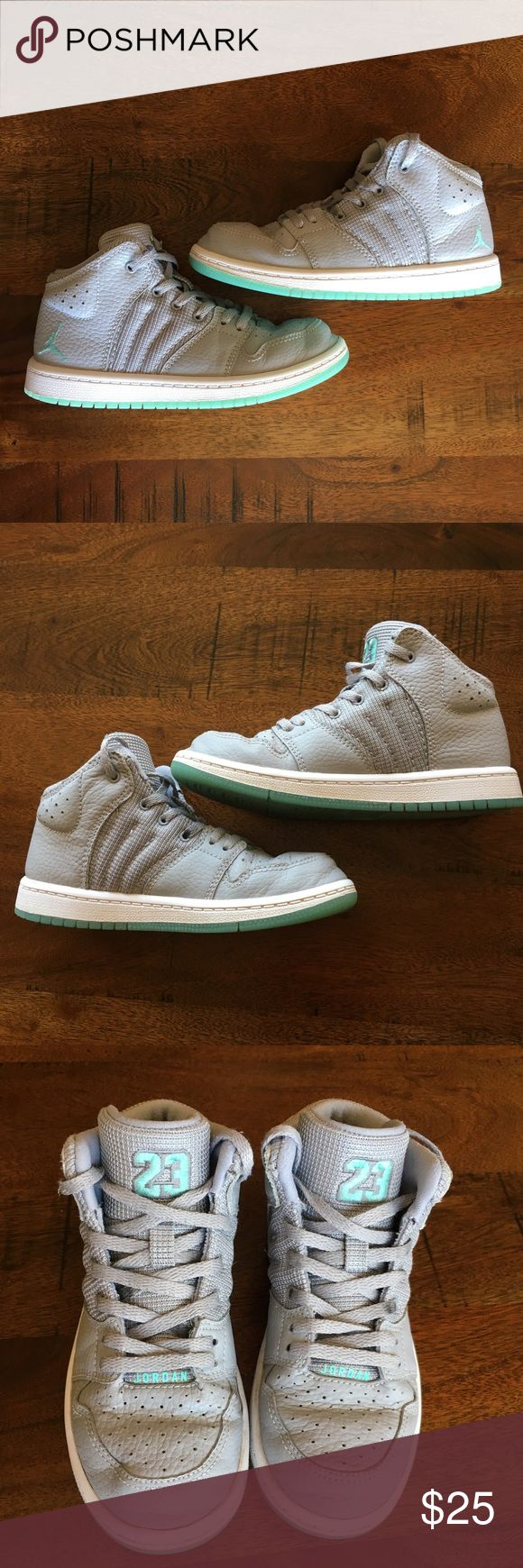 Jordan Girls Shoes These clean Michael Jordan girls shoes are a size 12. With wear, the shoes developed dimples at the tip of the shoes as seen above. These are well kept shoes and would need a new set of shoe laces. Jordan Shoes Sneakers
