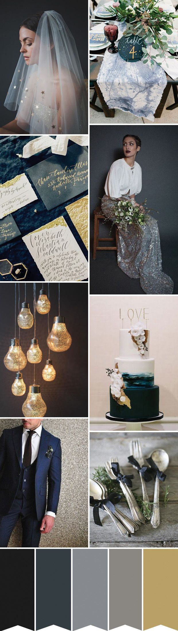 Navy, Black and Sparkle Wedding Inspiration - a dreamy dark colour palette inspired by a sparkling midnight sky...