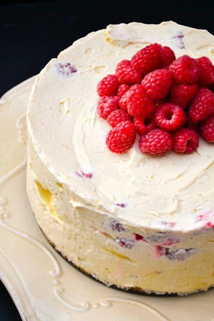 Deep Lemon Curd and Raspberry No-Bake Cheesecake