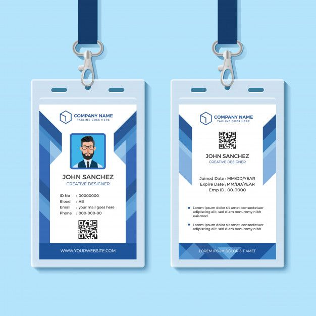Blue Employee Id Card Template Employee Id Card Id Card Template Company Id