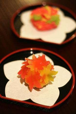 coloured leaves wagashi