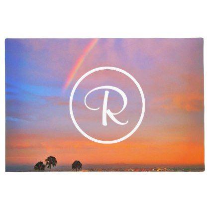#Rainbow sunrise photo custom monogram doormat - #doormats #home & #living