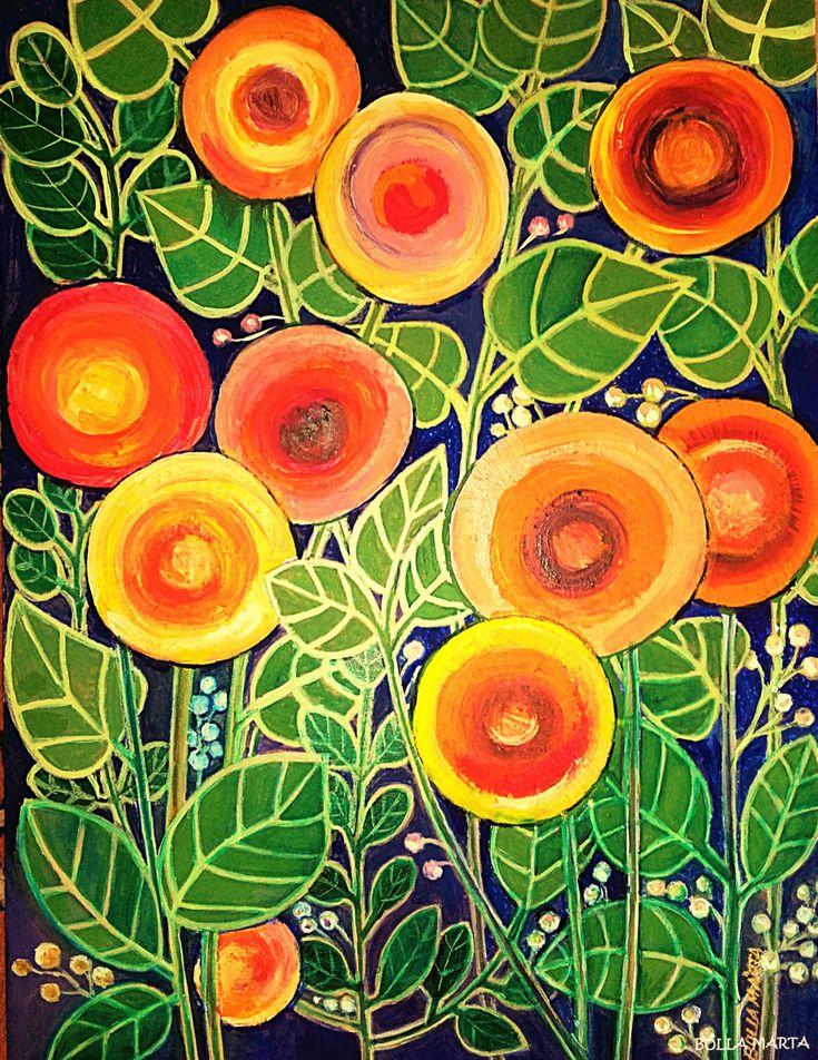 Flower circles - Virágkörök Acrylic on cardboard - 30 x 40 cm - by Márta Bolla - Hungary