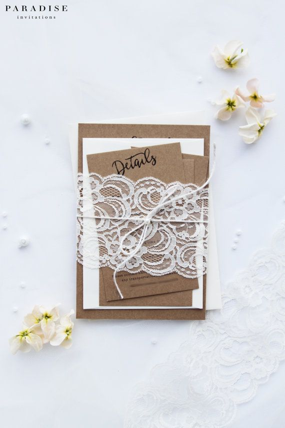 White Lace Rustic Wedding Invitation Sets, Pearls and Twine, Premium Kraft Cardboard