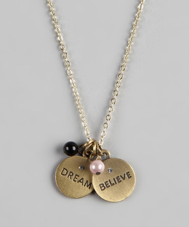 Take a look at this Gold 'Dream' & 'Believe' Charm Neckalce by Sugar & Vine on #zulily today!
