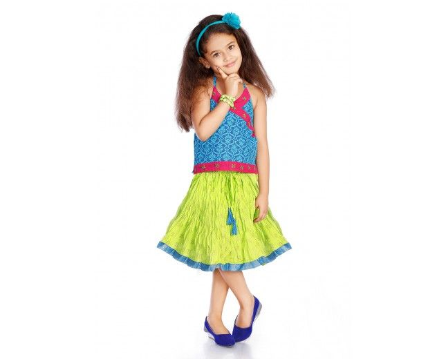 Blue and Green Skirt Top Set for girls