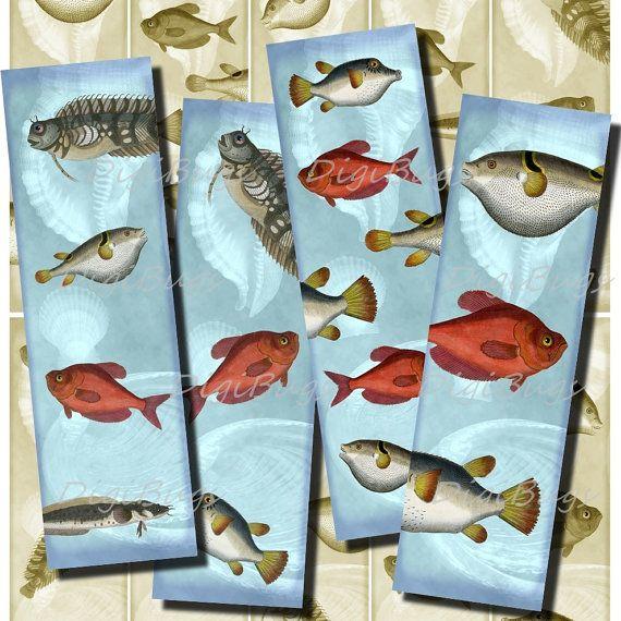 Printable Bookmarks - Under the Sea, Fish 03 - Digital File, Vintage Images, Instant Download - DigiBugs