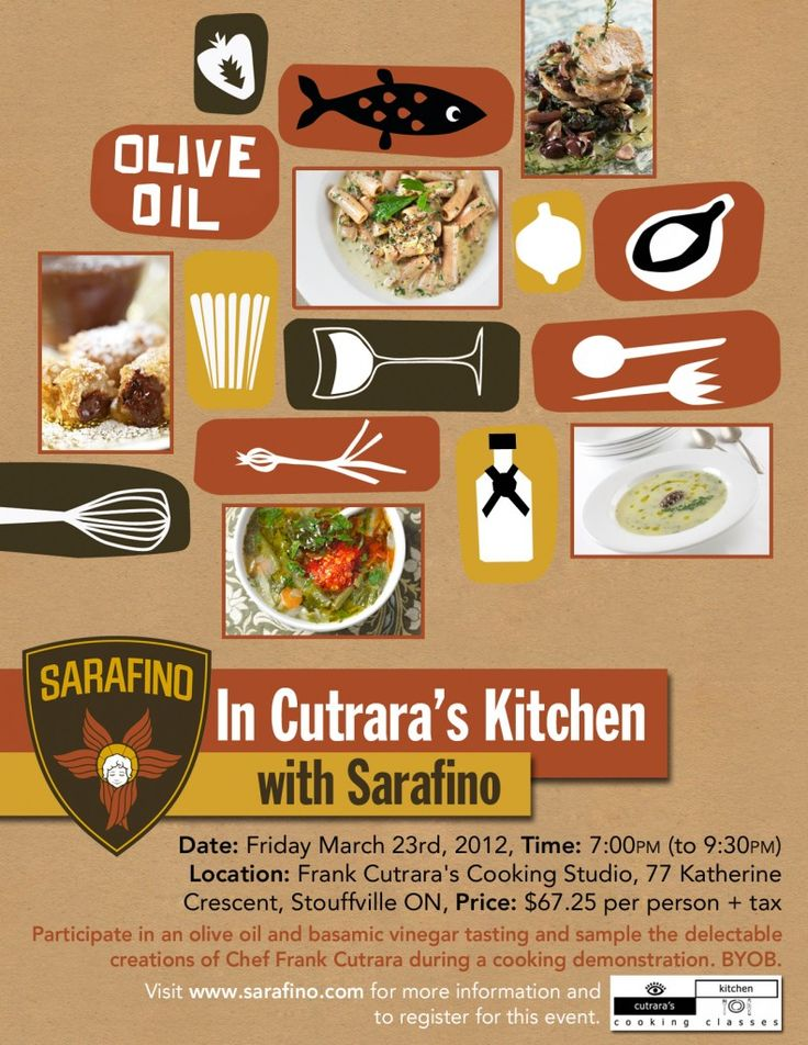 Sarafino – Cooking Event Poster by http://www.takerootcreative.com {love it}