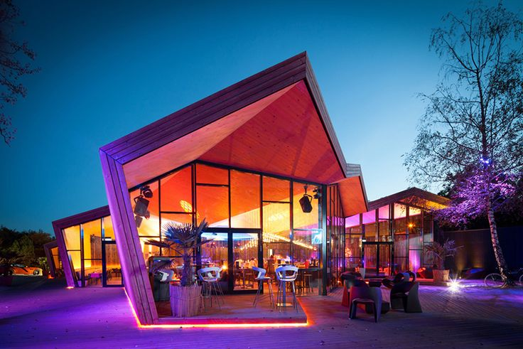 mimicking a sheet of folded paper, the new boos beach club by metaform architects is a light wooden structure directly influenced by the art of origami.