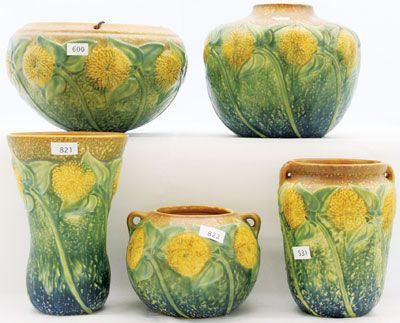A small collection of Roseville pottery sold for a combined $5,550 at the second Annual Spring Fling collectibles auction in Greensburg, Kan., May 5-6, 2012.