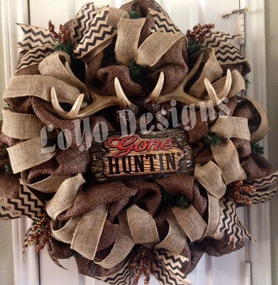 Hey, I found this really awesome Etsy listing at https://www.etsy.com/listing/173895559/made-to-order-gone-huntin-wreath-hunting