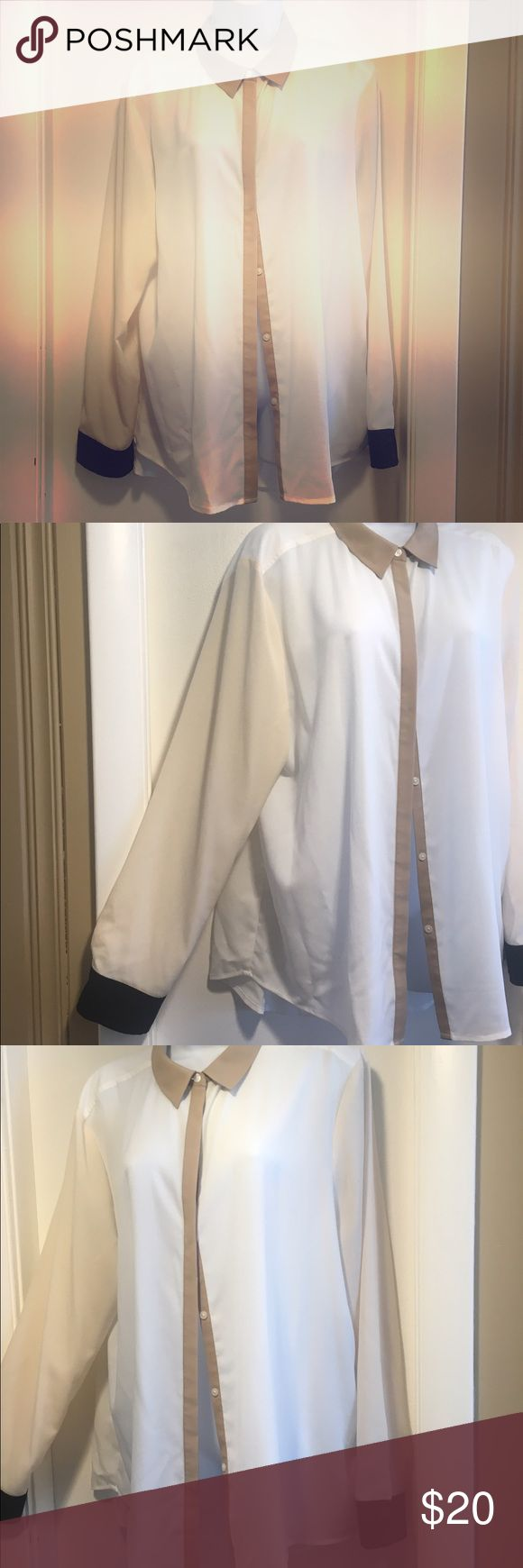 DKNYc XL Blouse Color block blouse - shear with matching camisole. White, with cream colored sleeves, black cuffs, khaki colored collar.  Worn 3 times!  In great shape.  Material is polyester (both shirt and detachable liner). DKNYC Tops Blouses