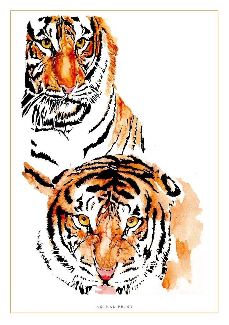Animal print- Water colour/ gouache/ coloured pencil by Nas Abraham