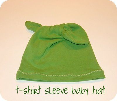 Simple tiny baby hat out of a t-shirt sleeve.