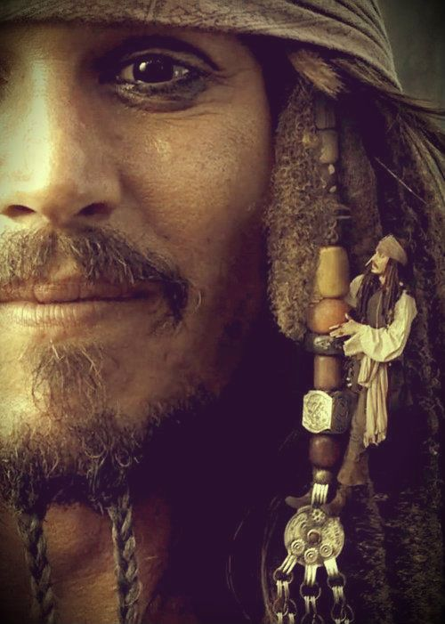 "(""Depp's Sparrow portrays a uniquely quirky pirate.  see cunda)"