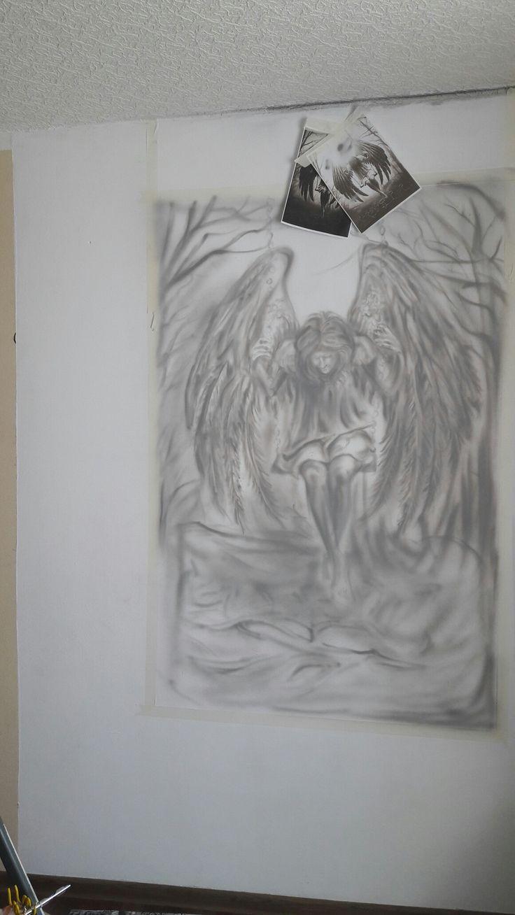 Start#airbrush#brokenangel#blackangel#