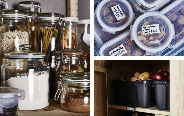Eine Collage verschiedener Lebensmittel in Kunststoffbehältern und Dosen in Regalen und Schubladen.