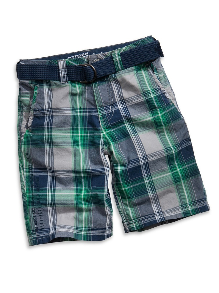 GUESS Kids Boys Little Boy Flash Plaid Shorts with Belt, PLAID (2T)