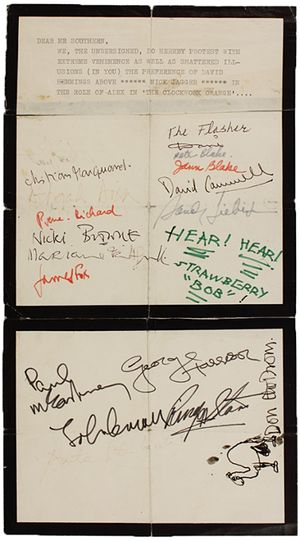 'Cast Mick Jagger in A Clockwork Orange' – petiton signed by the Beatles goes to auction  The four Beatles were among the starry signatories of a plea to screenwriter Terry Southern.