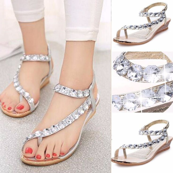 NEW Bohemia Women Rhinestone Flat Sandals Beach Flip Flops Slippers Thong  Shoes