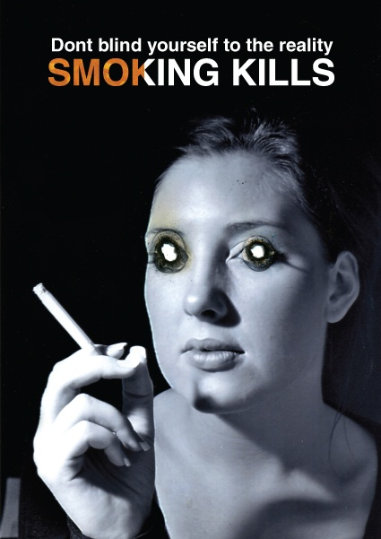 The use of cigarette burns in the eyes shows  devastation cigarettes leave in their path and the physical harm they have on our bodies. The eyes look like demon eyes. This could be used to show the idea of tobacco addiction being the demon within us which we need to fight. As a series of images this would be extremely powerful. Almost like the person is staring not just at you but through you. This could be further developed into a moving image. The eyes could move as if watching you.