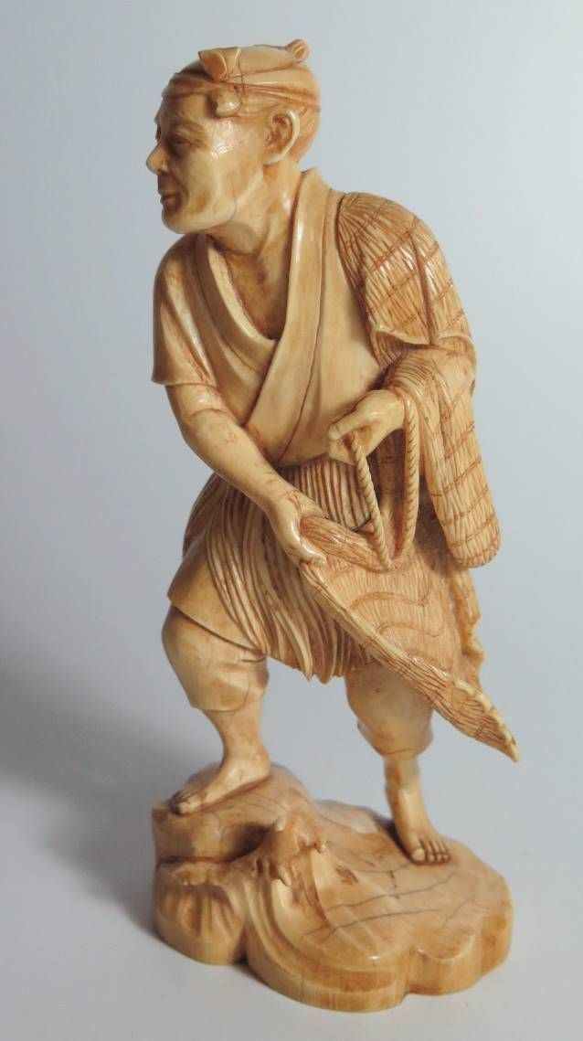 Japanese Ivory Okimono Fisherman est £250-£350 to be auctioned on the 15/6/16