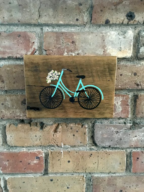 Tiny Hand Painted Vintage Bike with Basket on by RannyStarnes