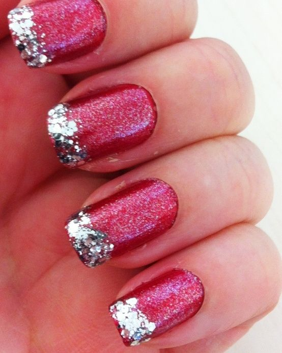 Christmas Nail Art: Silver Glitter, Nails Art, Nailart, Nails Design, Christmas Nails, Glitter Nails, Glitter Tips, Nails Idea, Holidays Nails
